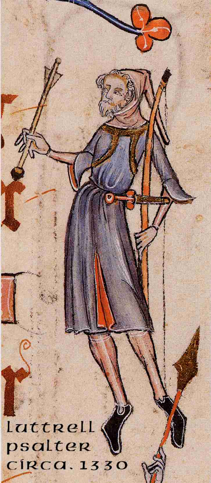 Archer from the Luttrell Psalter, around 1330.